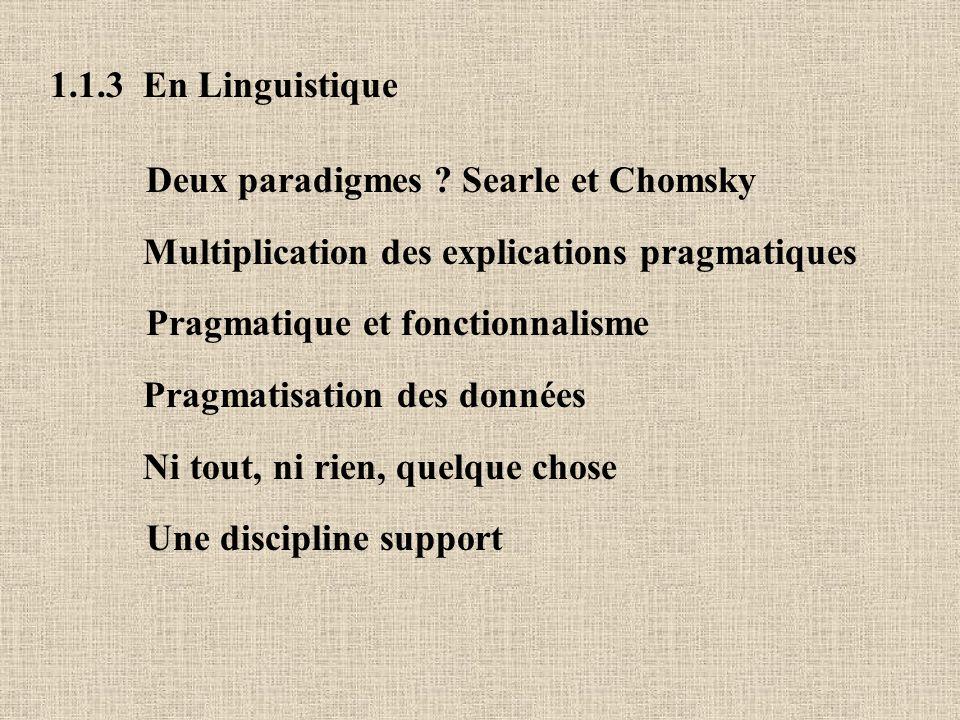 1.1.3 En Linguistique Deux paradigmes Searle et Chomsky. Multiplication des explications pragmatiques.