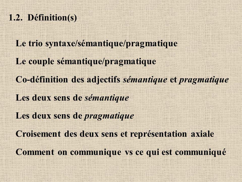 1.2. Définition(s) Le trio syntaxe/sémantique/pragmatique. Le couple sémantique/pragmatique. Co-définition des adjectifs sémantique et pragmatique.
