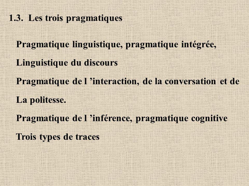 1.3. Les trois pragmatiques