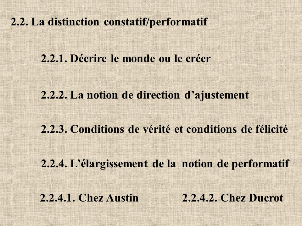 2.2. La distinction constatif/performatif