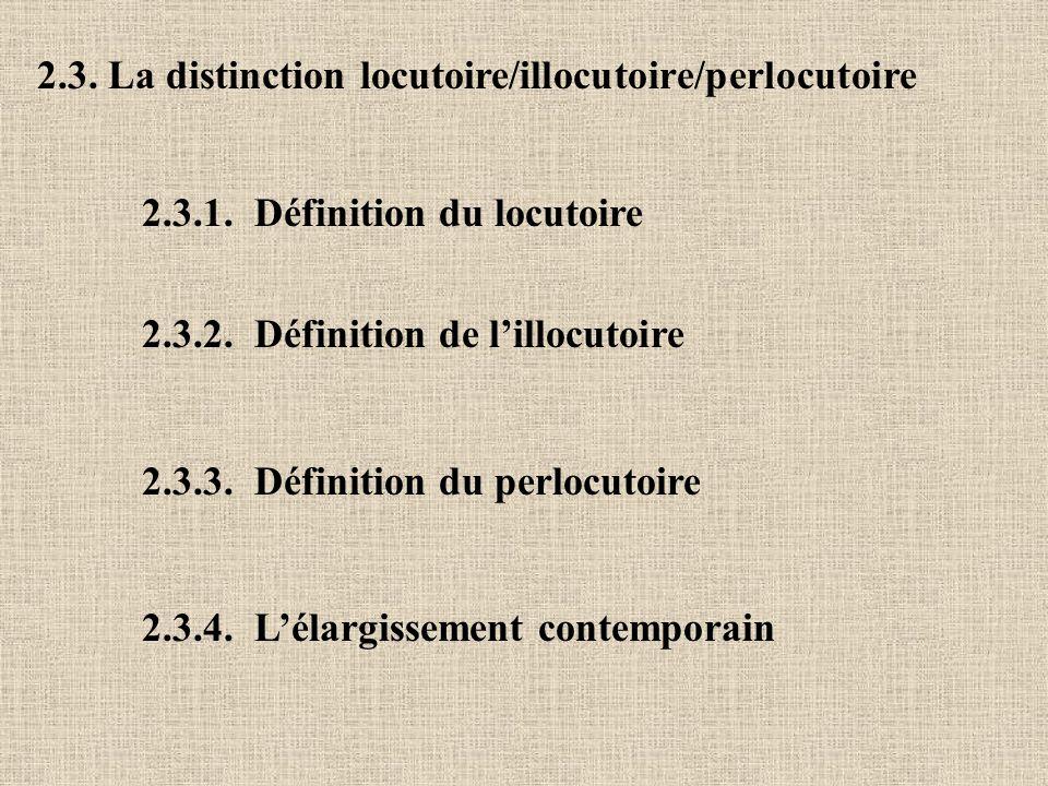 2.3. La distinction locutoire/illocutoire/perlocutoire