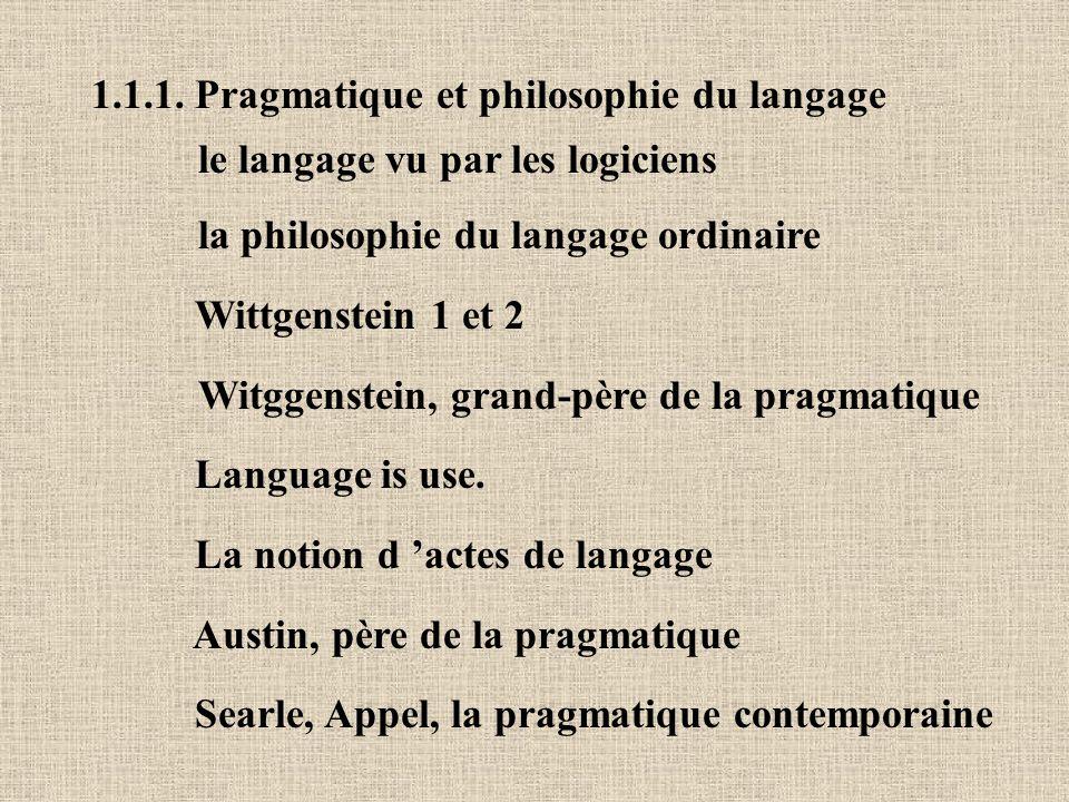 1.1.1. Pragmatique et philosophie du langage