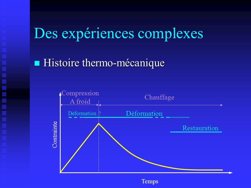 Des expériences complexes