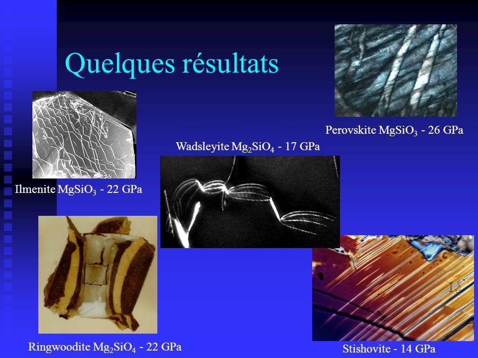 Quelques résultats Perovskite MgSiO3 - 26 GPa