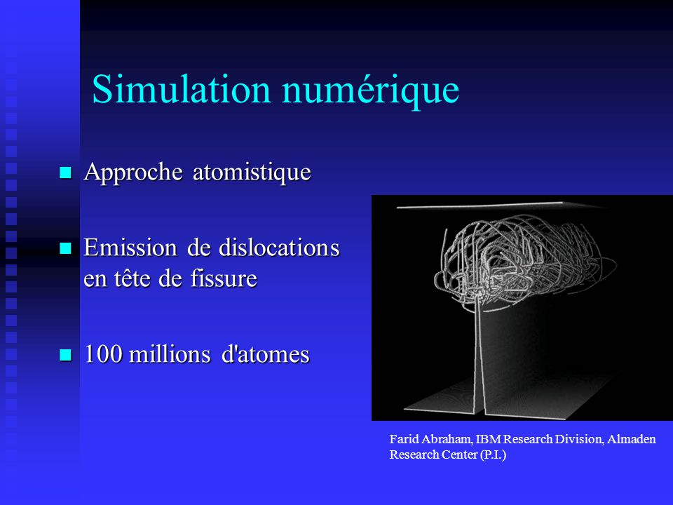 Simulation numérique Approche atomistique