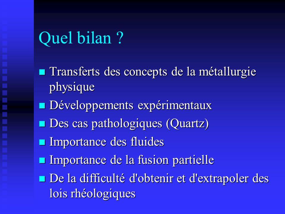 Quel bilan Transferts des concepts de la métallurgie physique