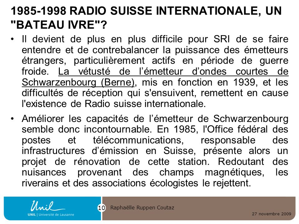1985-1998 RADIO SUISSE INTERNATIONALE, UN BATEAU IVRE