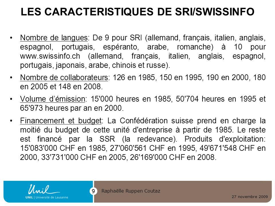 LES CARACTERISTIQUES DE SRI/SWISSINFO