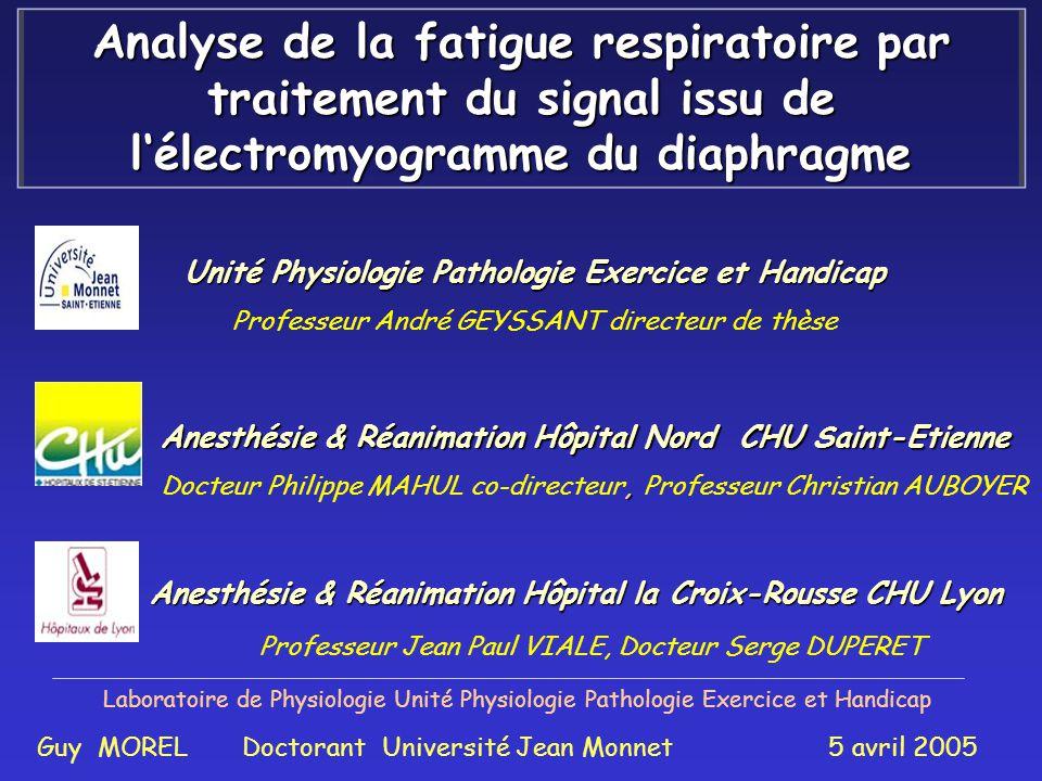 Analyse de la fatigue respiratoire par traitement du signal issu de l'électromyogramme du diaphragme