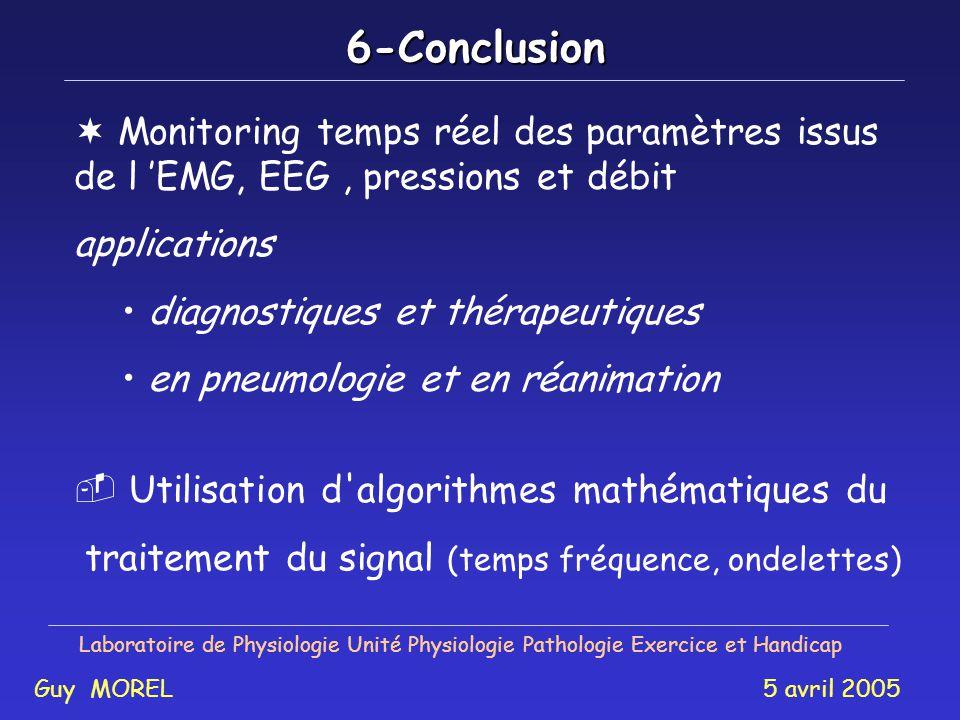 6-Conclusion Monitoring temps réel des paramètres issus de l 'EMG, EEG , pressions et débit. applications.