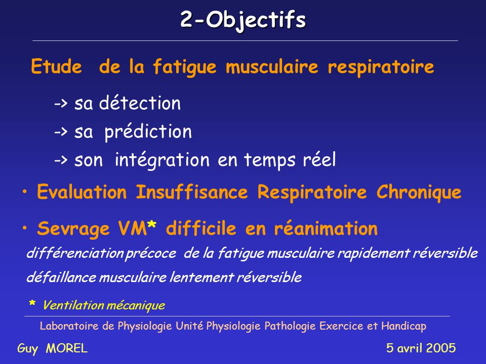 Etude de la fatigue musculaire respiratoire