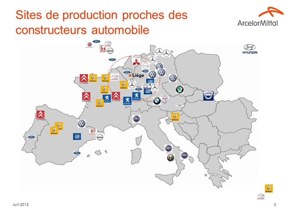 Sites de production proches des constructeurs automobile