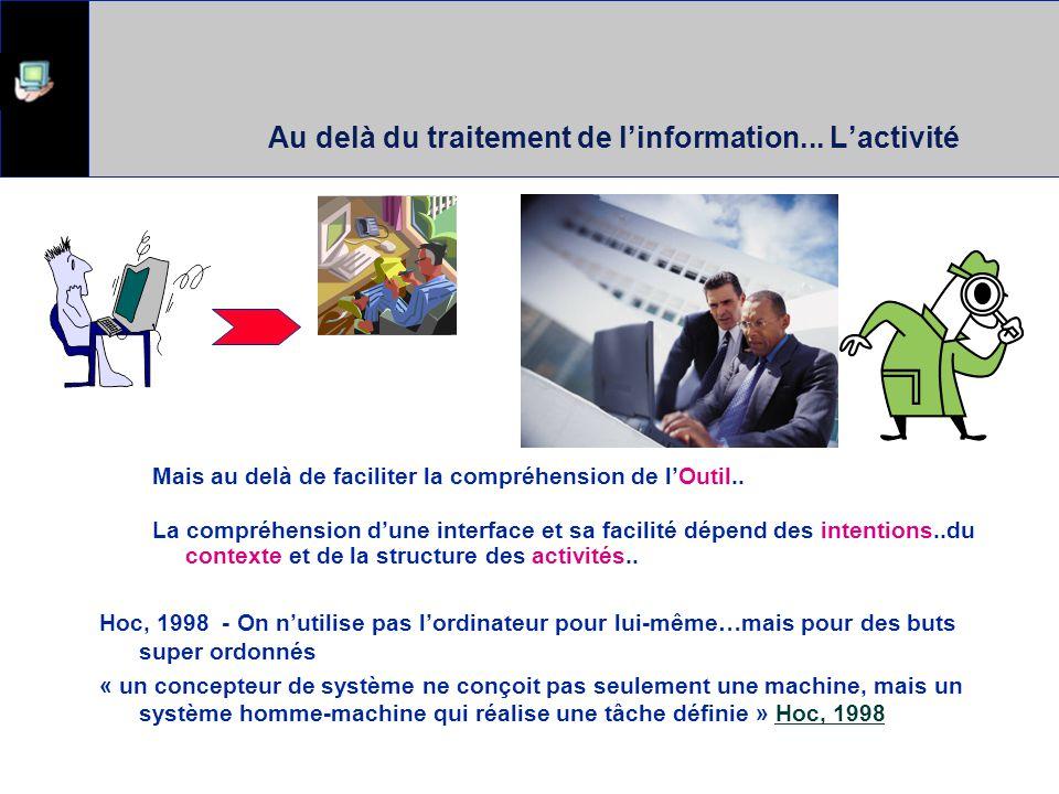 Au delà du traitement de l'information... L'activité