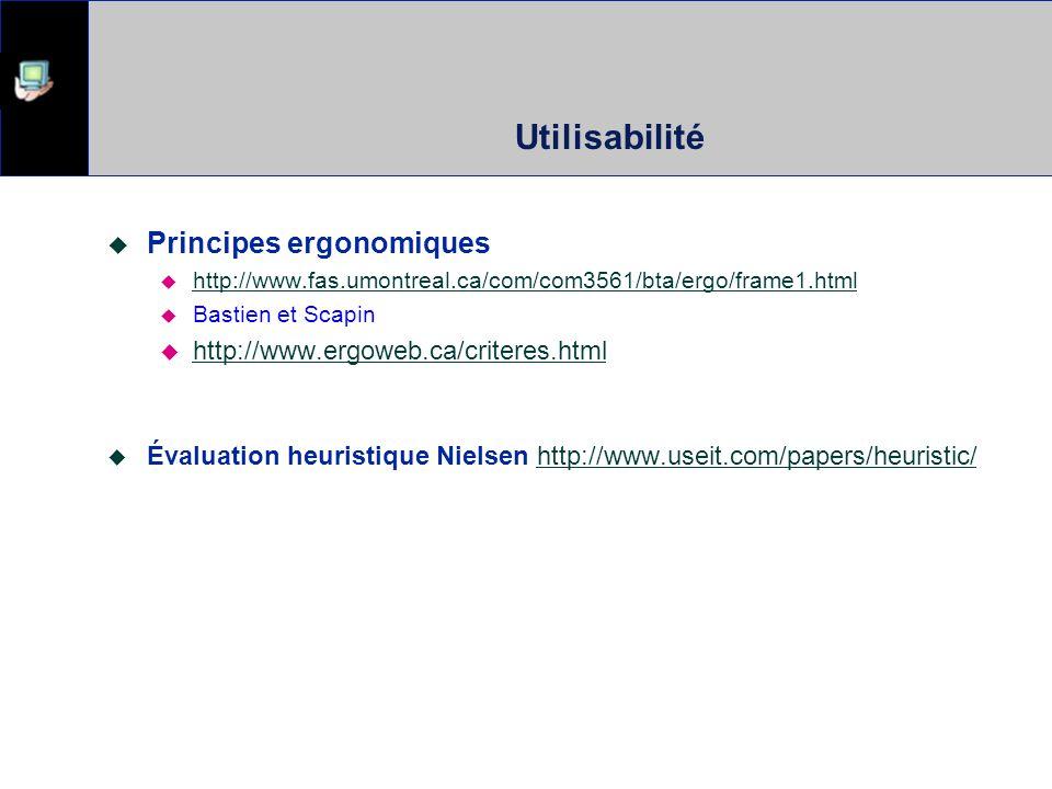 Utilisabilité Principes ergonomiques