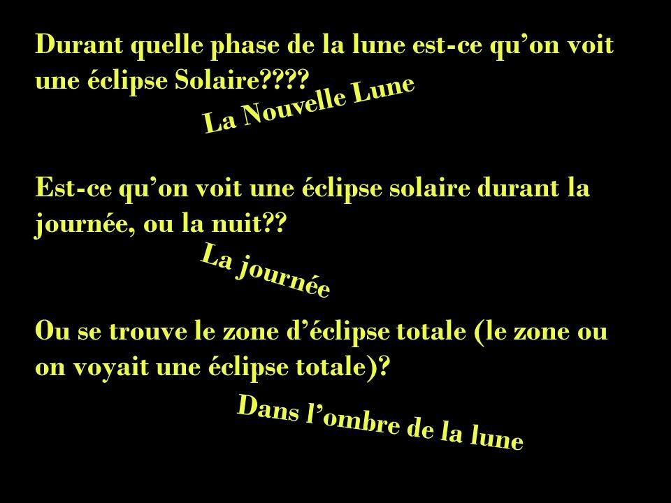 Durant quelle phase de la lune est-ce qu'on voit une éclipse Solaire