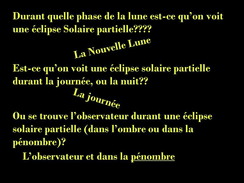 Durant quelle phase de la lune est-ce qu'on voit une éclipse Solaire partielle