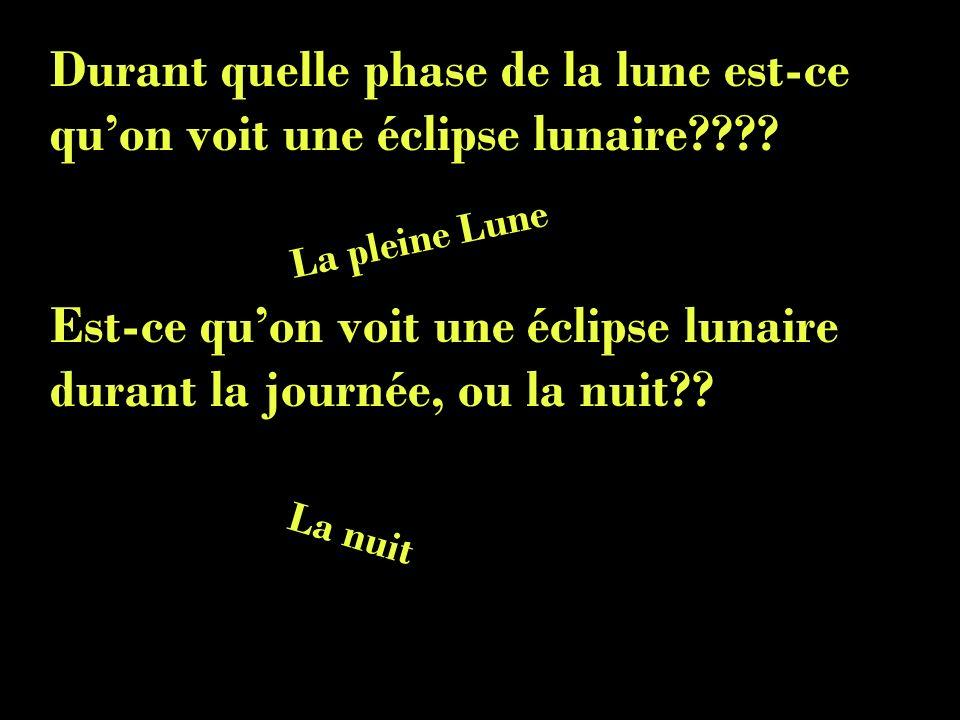 Est-ce qu'on voit une éclipse lunaire durant la journée, ou la nuit