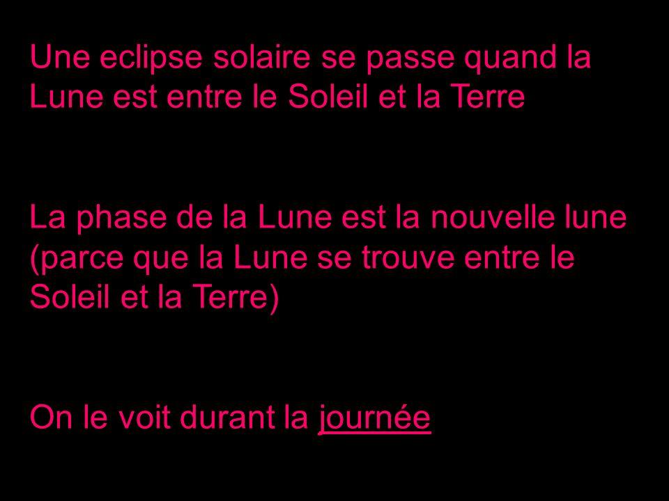 Une eclipse solaire se passe quand la Lune est entre le Soleil et la Terre