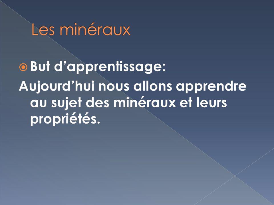 Les minéraux But d'apprentissage: