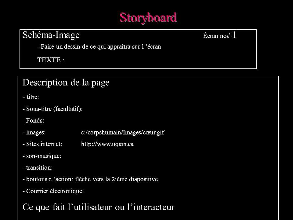 Storyboard Schéma-Image Écran no# 1 Description de la page