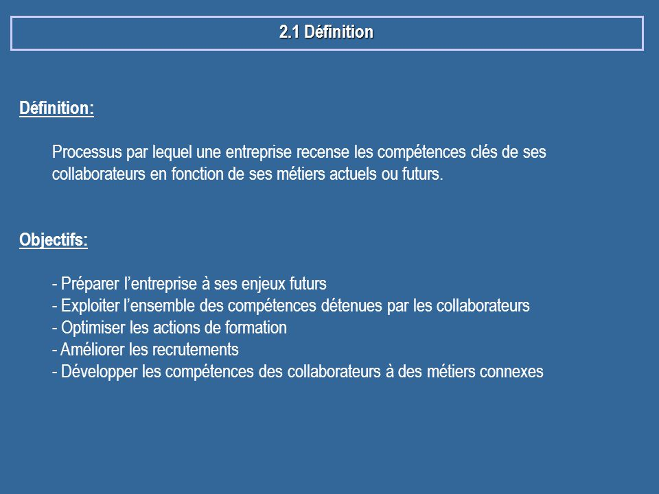 2.1 Définition Définition: