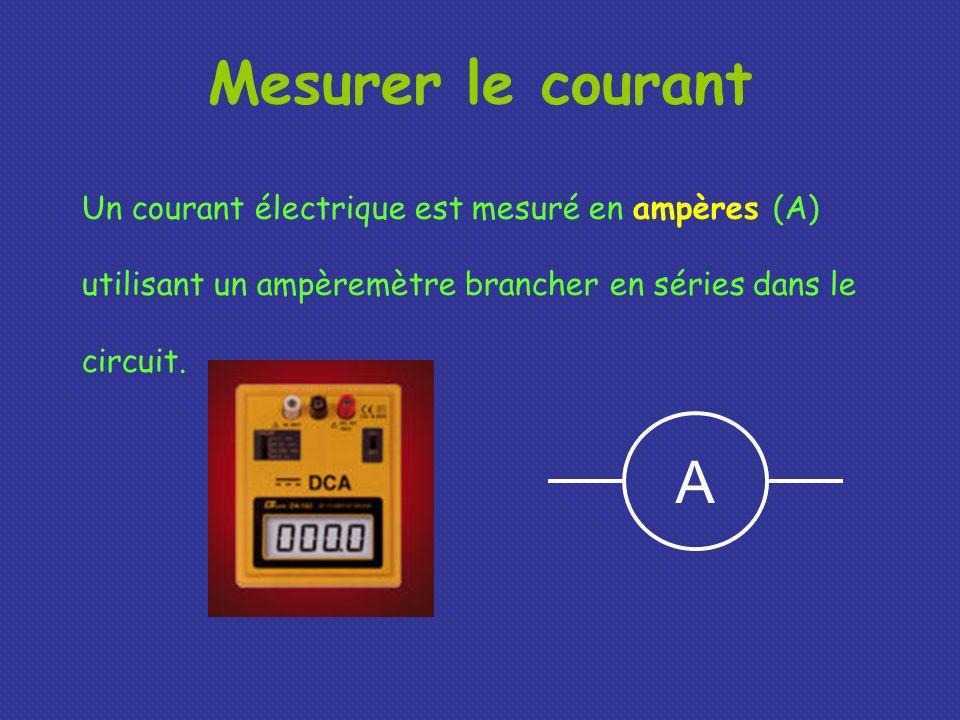 Mesurer le courantUn courant électrique est mesuré en ampères (A) utilisant un ampèremètre brancher en séries dans le circuit.