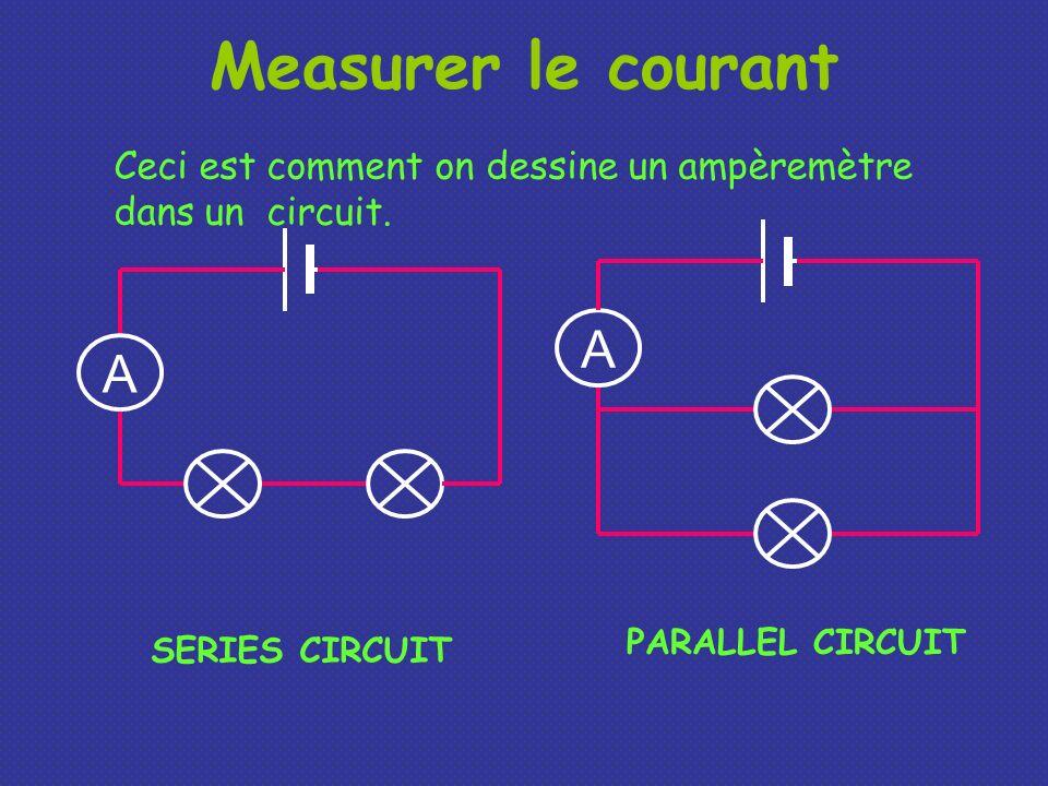 Measurer le courant Ceci est comment on dessine un ampèremètre dans un circuit. A. A. PARALLEL CIRCUIT.