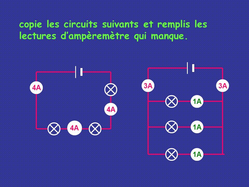 copie les circuits suivants et remplis les lectures d'ampèremètre qui manque.