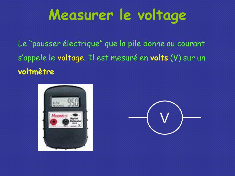 Measurer le voltageLe pousser électrique que la pile donne au courant s'appele le voltage. Il est mesuré en volts (V) sur un voltmètre.
