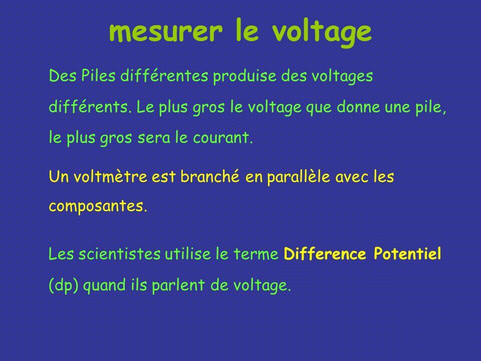 mesurer le voltage Des Piles différentes produise des voltages différents. Le plus gros le voltage que donne une pile, le plus gros sera le courant.