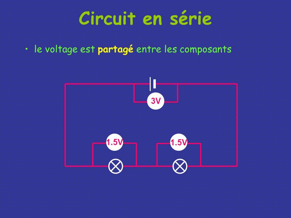 Circuit en série le voltage est partagé entre les composants 3V 1.5V