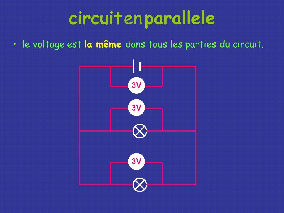 circuit en parallele le voltage est la même dans tous les parties du circuit. 3V 3V 3V