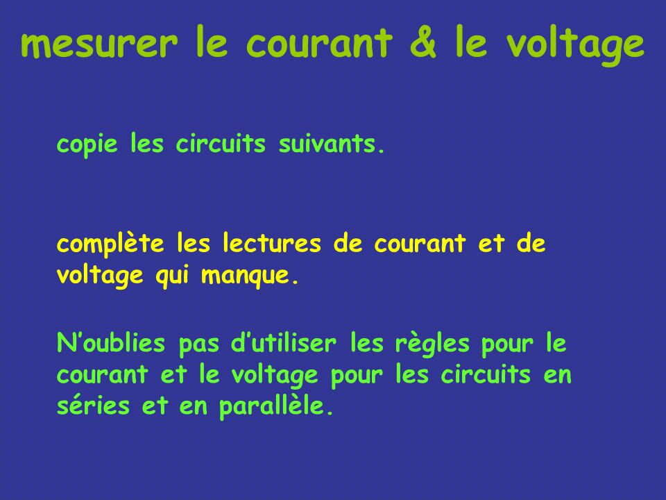 mesurer le courant & le voltage