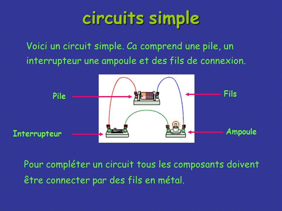 circuits simple Voici un circuit simple. Ca comprend une pile, un interrupteur une ampoule et des fils de connexion.