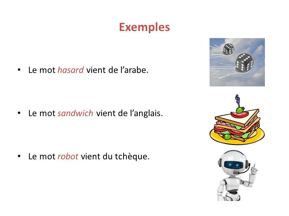 Exemples Le mot hasard vient de l'arabe.