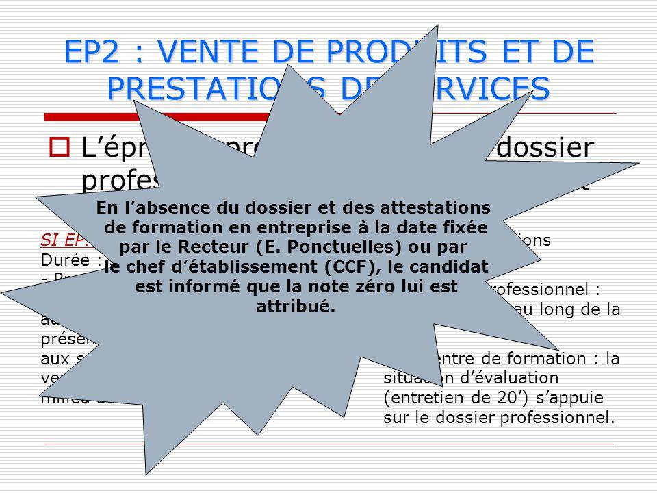 EP2 : VENTE DE PRODUITS ET DE PRESTATIONS DE SERVICES