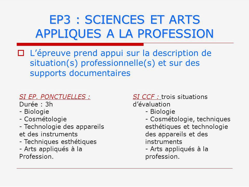 EP3 : SCIENCES ET ARTS APPLIQUES A LA PROFESSION