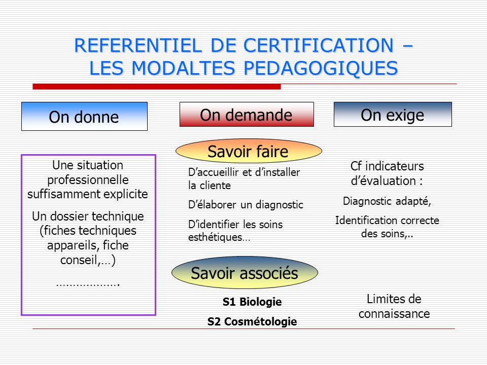 REFERENTIEL DE CERTIFICATION – LES MODALTES PEDAGOGIQUES