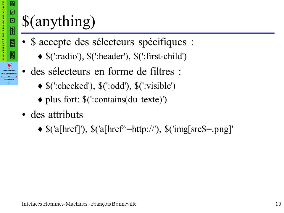 $(anything) $ accepte des sélecteurs spécifiques :