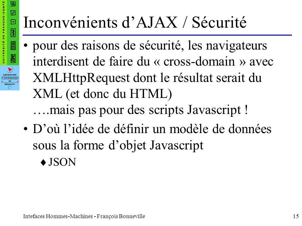 Inconvénients d'AJAX / Sécurité