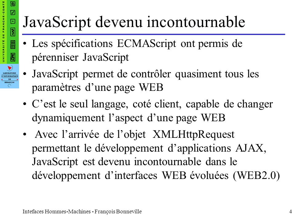 JavaScript devenu incontournable