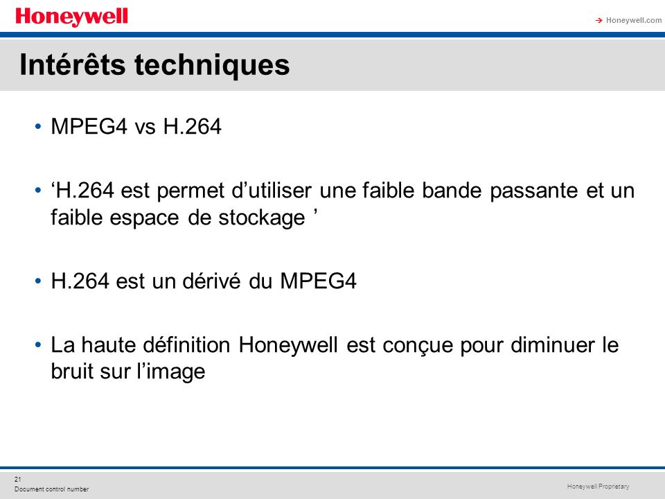 Intérêts techniques MPEG4 vs H.264