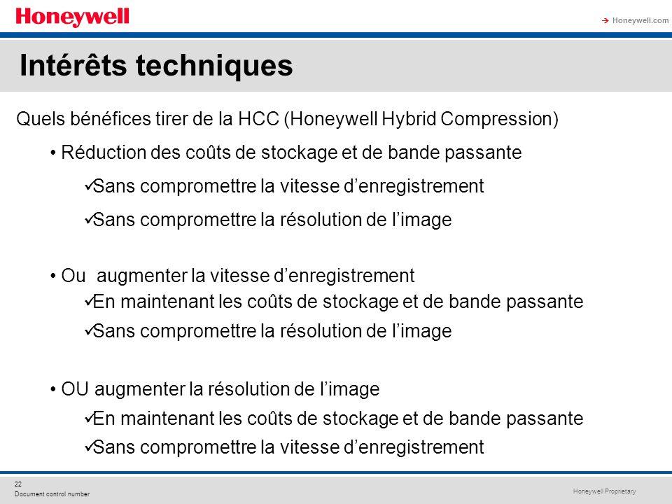 Intérêts techniques Quels bénéfices tirer de la HCC (Honeywell Hybrid Compression) Réduction des coûts de stockage et de bande passante.