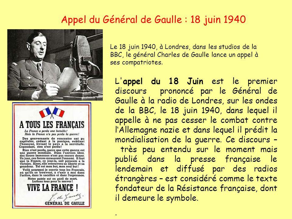 Appel du Général de Gaulle : 18 juin 1940