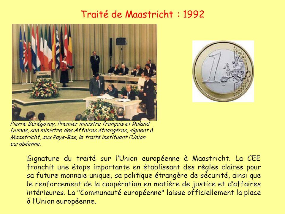 Traité de Maastricht : 1992