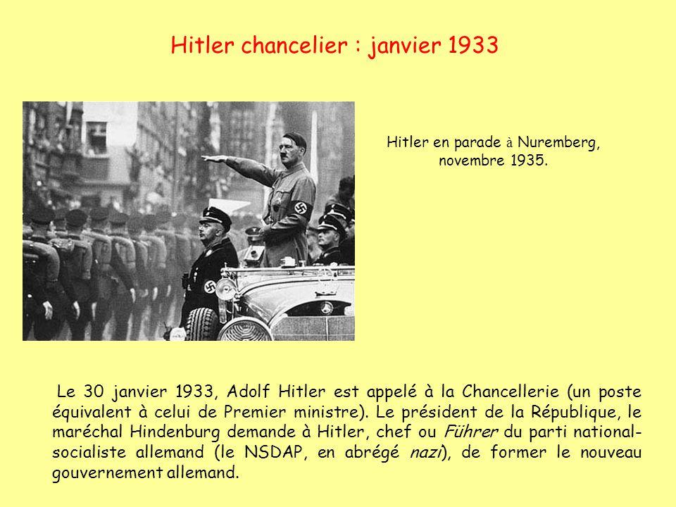 Hitler chancelier : janvier 1933