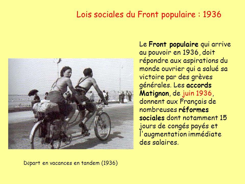 Lois sociales du Front populaire : 1936