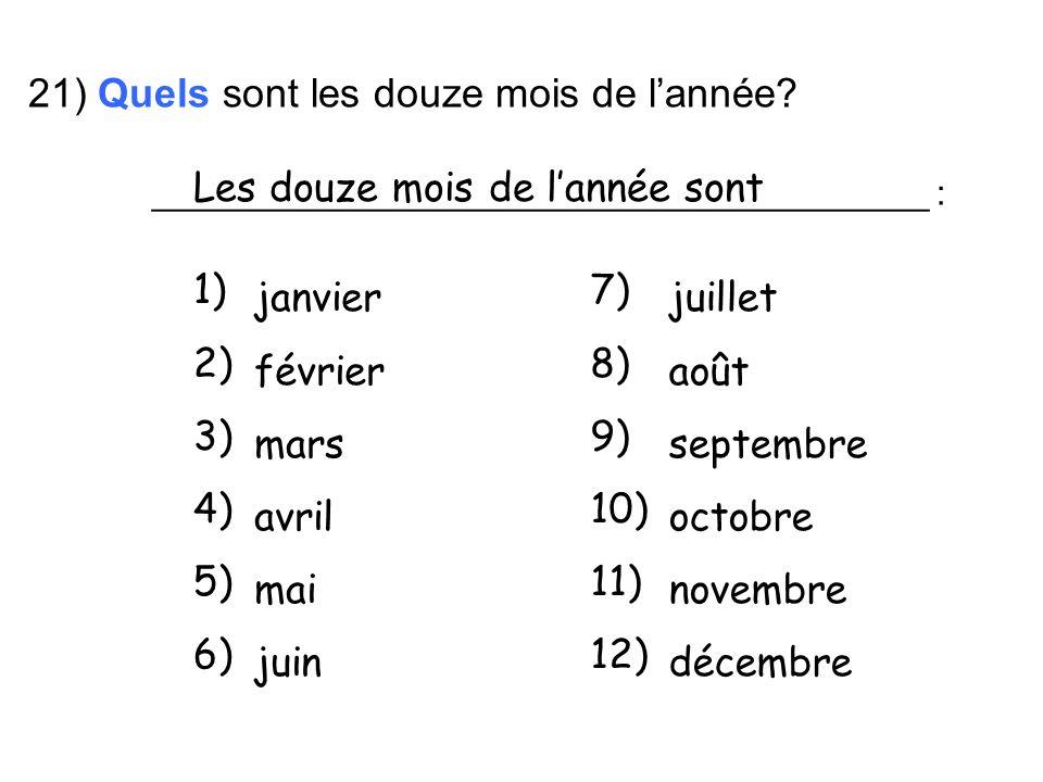 21) Quels sont les douze mois de l'année