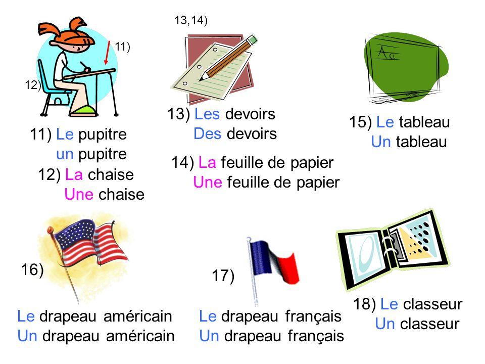 13) Les devoirs Des devoirs 15) Le tableau Un tableau 11) Le pupitre