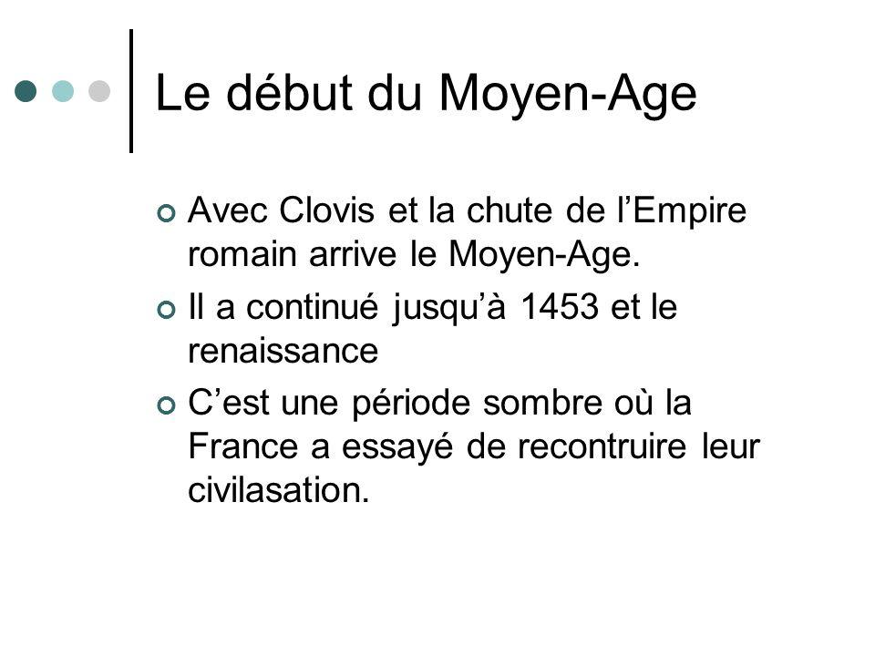 Le début du Moyen-Age Avec Clovis et la chute de l'Empire romain arrive le Moyen-Age. Il a continué jusqu'à 1453 et le renaissance.